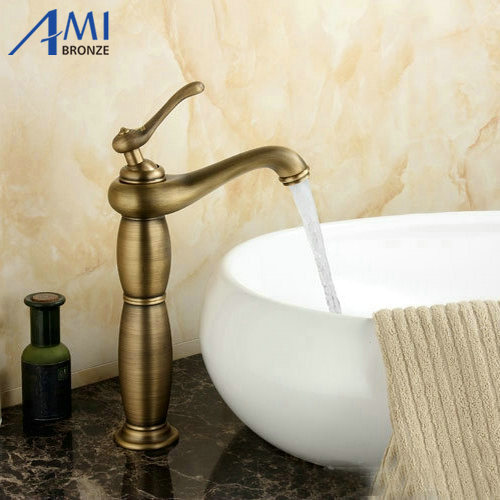 Newly High Antique Brass Brushed Bathroom Basin Faucet Mixer Tap Sprayer Tap antique brushed newly colorful painted basin faucets hot