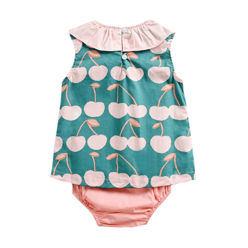 Summer Green Sleeveless Baby Clothes Baby Girl   Romper   Cherry Print Top Triangle Shorts 2-piece   Romper