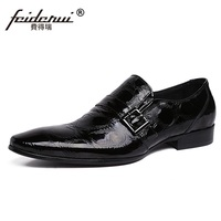 RUIMOSI High Quality Man Dress Shoes Patent Leather Cow Loafers Italian Designer Brand Pointed Men S