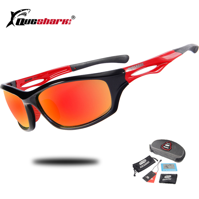 b1cc371839 Queshark Men Women Polarized Sunglasses Cycling Glasses Bicycle Riding  Mountain Road MTB Bike Goggles Climbing Sports