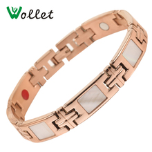 Wollet Jewelry Rose Gold Color 316L Stainless Steel Bracelet For Women Men Energy White Shell Magnetic Germanium 5 In 1 Elements недорого