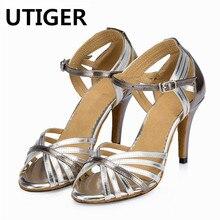 De plata de mujer de zapatos de baile latino Salsa zapatos Social zapatos  de fiesta mujer Samba Tango danza zapatos de tacón 7 C.. 96bdd7460173