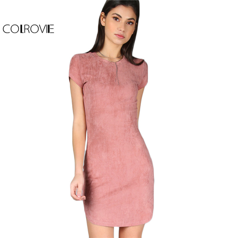 Buy Cheap COLROVIE Brief Summer Dress Women Pink Short Sleeve Curved Hem Sexy Bodycon Mini Dresses 2017 New Slim O Neck Elegant Dress