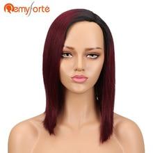 Remy Forte Human Hair Wigs 100% Remy Brazilian Hair Wigs Straight Short Wigs For Black Women TT1b/99j Colored L Part Lace Wigs
