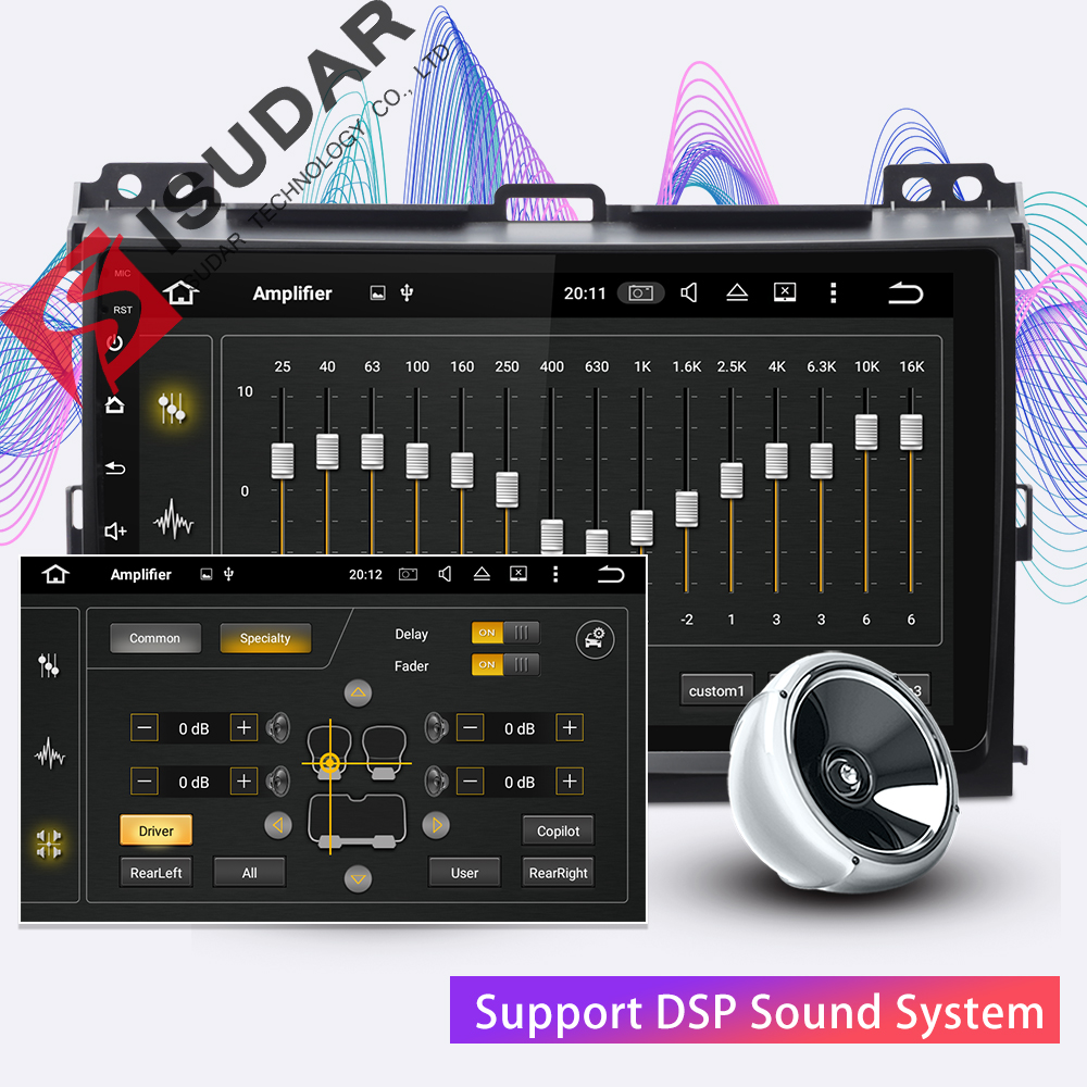 Isudar 2 Din Car Multimedia Player Android 9 For Toyota/Prado 120 2004-2009 Auto Radio GPS Navigation FM Camera USB DVR DSP OBD
