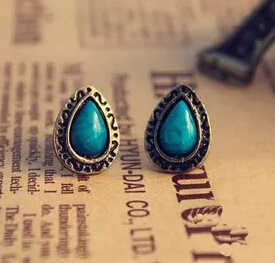 Latest Fashion Foreign Trade Vintage Fashion crystal Blue Water Earrings Women Jewelry Factory Wholesale