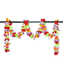 Hawaiian Flower Leis Garland Necklace Fancy Dress Party Hawaii Beach Fun Garland Necklace Colorful Flower Wedding Party Decor(China)