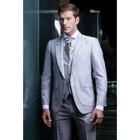 Shiny silver grey tuxedos Hot Sale One Button Tuxedos Wedding Groomsman Suit Bridal GroomBest Mens Suits 3 Pieces