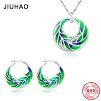 Jewelry set fashion natural vitality green leaf for women 925 Sterling Silver charms Necklace pendant Earrings Party Enamel