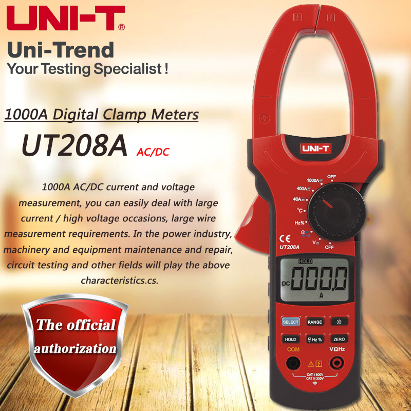 UNI-T UT208A AC DC 1000A Digital Clamp Meter Digital Ammeter Resistor / Capacitance / Frequency / Temperature / Diode Test мультиметр uni t uni t ut71b alicate amperimetro ac dc
