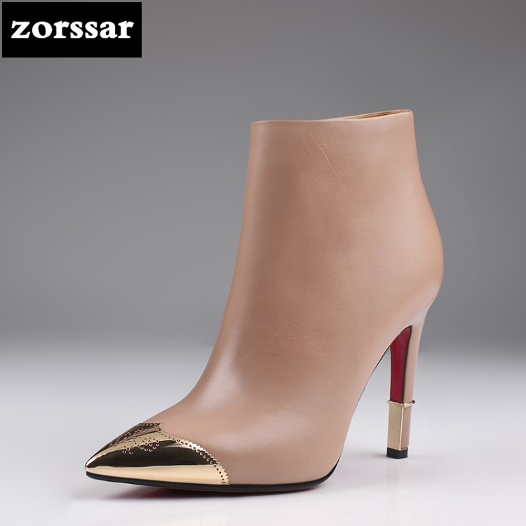 {Zorssar} winter shoes women High heel ankle boots 2018 Genuine Leather Pointed Toe High Heels Women Boots Ladies shoes Big Size pointed toe high heels nubuck leather winter deep mouth thin heel big size mature leopard print stilletos shoes for women