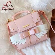 Moda śliczne Lolita skrzydła łuk Pu dziewczyny torba na ramię torebka torba Crossbody kurierska kobiety Bat torba Bolsa designerska torba skrzynki