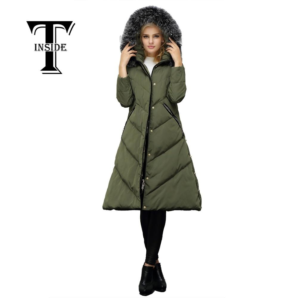 T-INSIDE Women Down Jacket 2016 Women's Winter Coat Long Military Jackets for Winter Parkas Ladies Real Fur Collar Coats Female цена