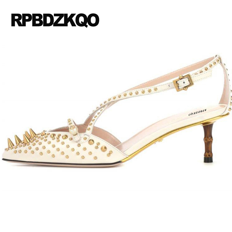 High Heels Famous Cross Strap White Spike Pearl Medium Stud Catwalk Sandals Pumps Luxury Shoes Women Designers Rivet Pointed Toe pearl high heels shoes thick green women strange suede abnormal catwalk genuine leather pointed toe strap mary jane lace up