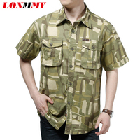 LONMMY M 3XL Men Shirt Dress Cotton Short Sleeves Camouflage Shirt Men Military Style Casual Mens