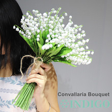 36pcs Convallaria Majalis Plastic Flower White Wedding Bride Bouquet Table Centerpiece Free Shipping