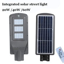лучшая цена 10PCS 20W 40W 60W LED Integrated Luminaria Solar Lights For Garden Powerful Outdoor Waterproof Street Light Radar Motion Sensor
