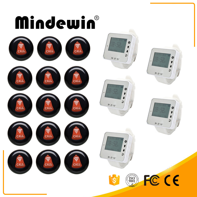 Mindewin Wireless Pager System 5 Wrist Watch M-W-1 15 Multicolor Call Buttons M-K-1 Restaurant Queuing Service Calling System mindewin wireless calling system for restaurant waiter pager 12pcs table call buttons m k 1 and 2pcs wrist watch pager m w 1