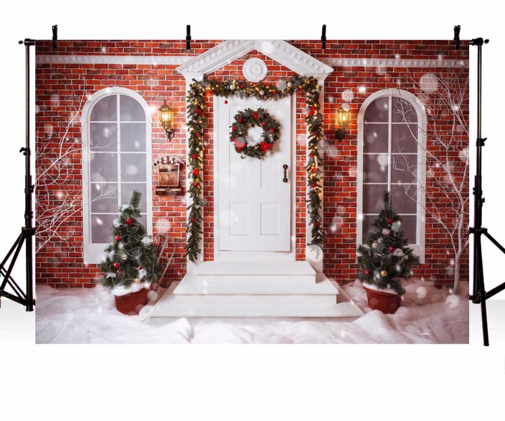 Vinyl Photography Backdrop Christmas tree Snow Winter House Wreath Brick Wall Children Backgrounds for Photo Studio ZR-230 shengyongbao 7x5ft brick wall theme vinyl custom photography backdrop photo studio backgrounds zq22