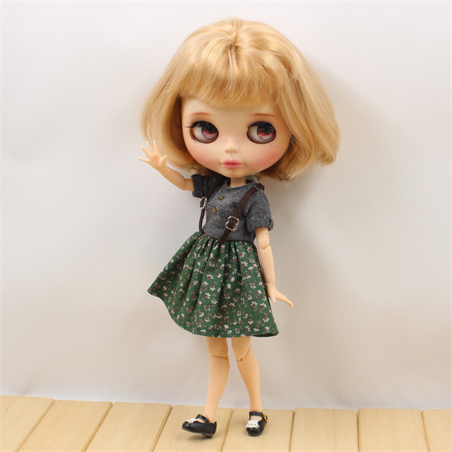 Blyth Doll Clothes Green Dress Gray Suspender Skirt with Button  ICY DIY toys Free Shipping