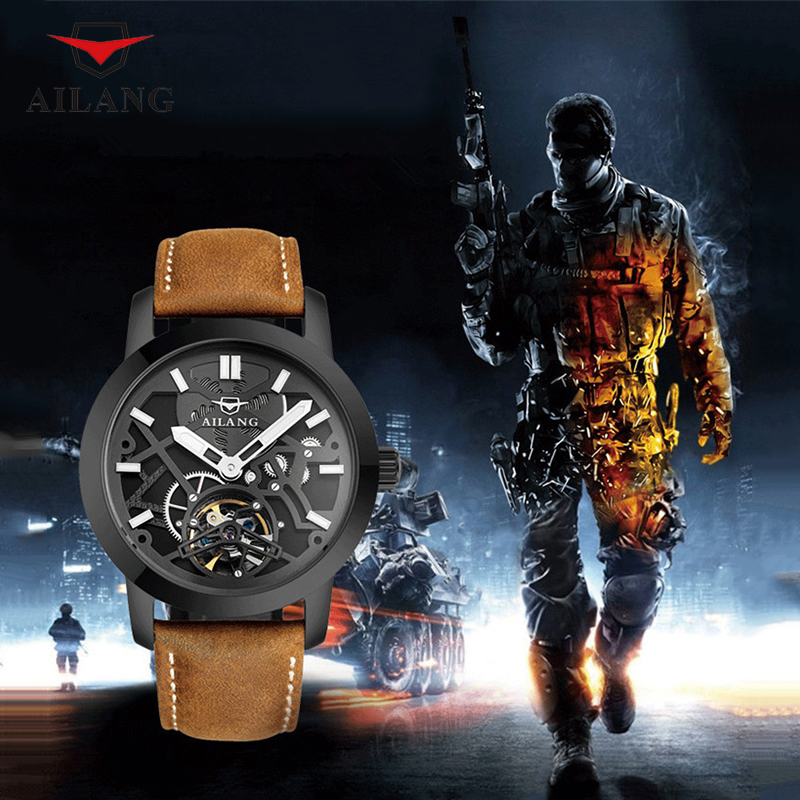 AILANG Cool 3D Transparent Mechanical Watch Men Fashion Automatic Wrist Watch Waterproof Real Leather Watches Tourbillon A001 totem element cool guys relief dragon horse watches ailang men crystals tourbillon wrist watch auto self wind leather reloj w024