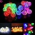 New 20 LED Rattan Ball String Lights Home Garden Lamp Wedding Party Xmas Decor