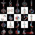 JUWEILI Jewelry Mixed 30pcs Beautiful 7 Chakra Beads Positive Energy Metal Pendant Charms Women Men Healthy Amulet