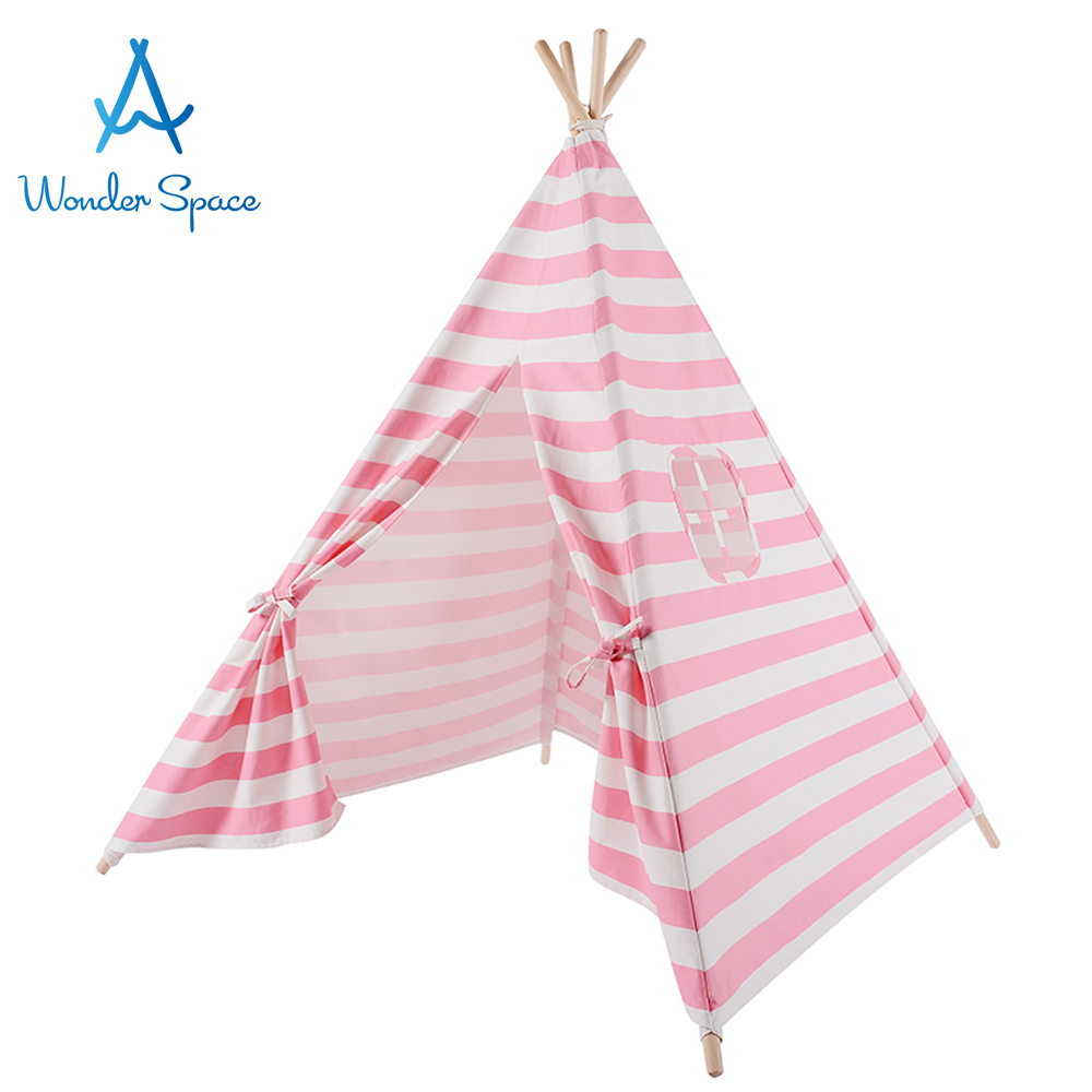 Kids Teepee Play Tent 100% Cotton Canvas Pink Stripe Children Tipi Playhouse Indoor Outdoor Toy Boys Girls Baby Birthday Gift mushroom kids play hut pink blue children toy tent baby adventure game room indoor outdoor playhouse