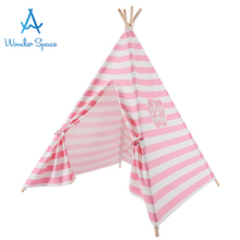цена на Kids Teepee Play Tent 100% Cotton Canvas Pink Stripe Children Tipi Playhouse Indoor Outdoor Toy Boys Girls Baby Birthday Gift