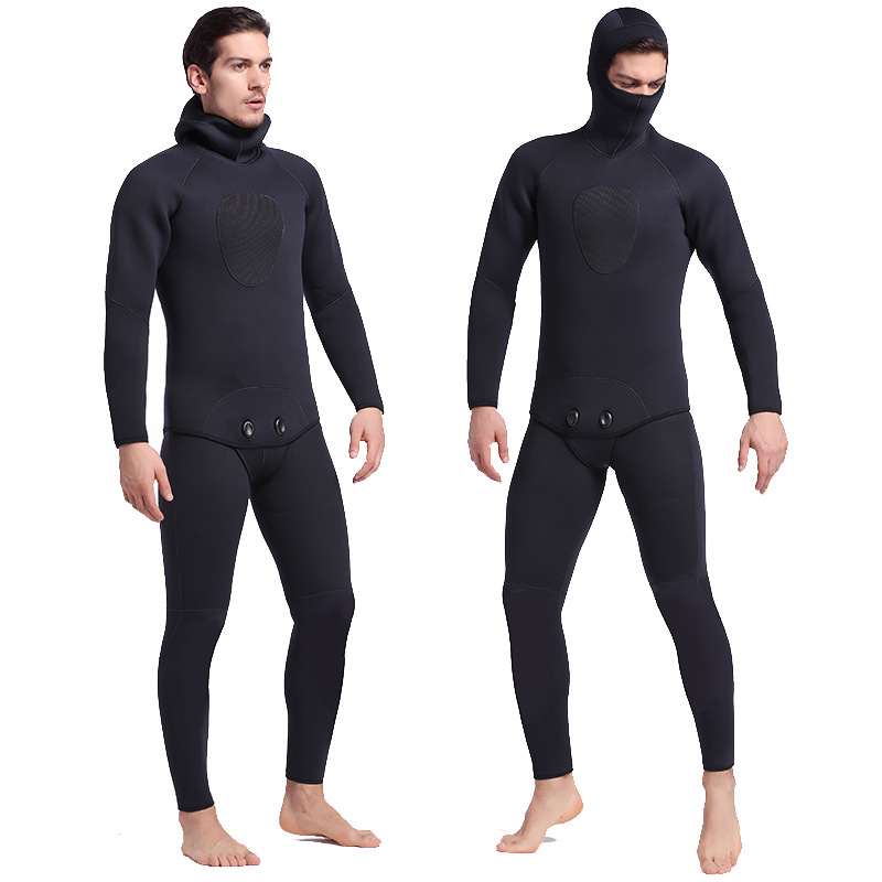 Sbart Mens Fullbody 5mm Neoprene Wetsuit All Black Winter Thicken Thermal Diving Suit Deep Dive Two Pieces Wet Suit Spearfishing respirator two decompression dive diving second stage breathing regulator dive two parts supplies