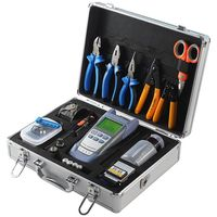 Free shipping Fiber Optic splicer fusion Tool Kit with Fiber Cleaver and Optical Power Meter 10km Visual Fault Locator toolbox