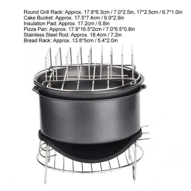 7Pcs/Set Barbecue Air Fryer Accessories Set Kit Parts Home Kitchen Tool for 3.6L Air Fryer 2