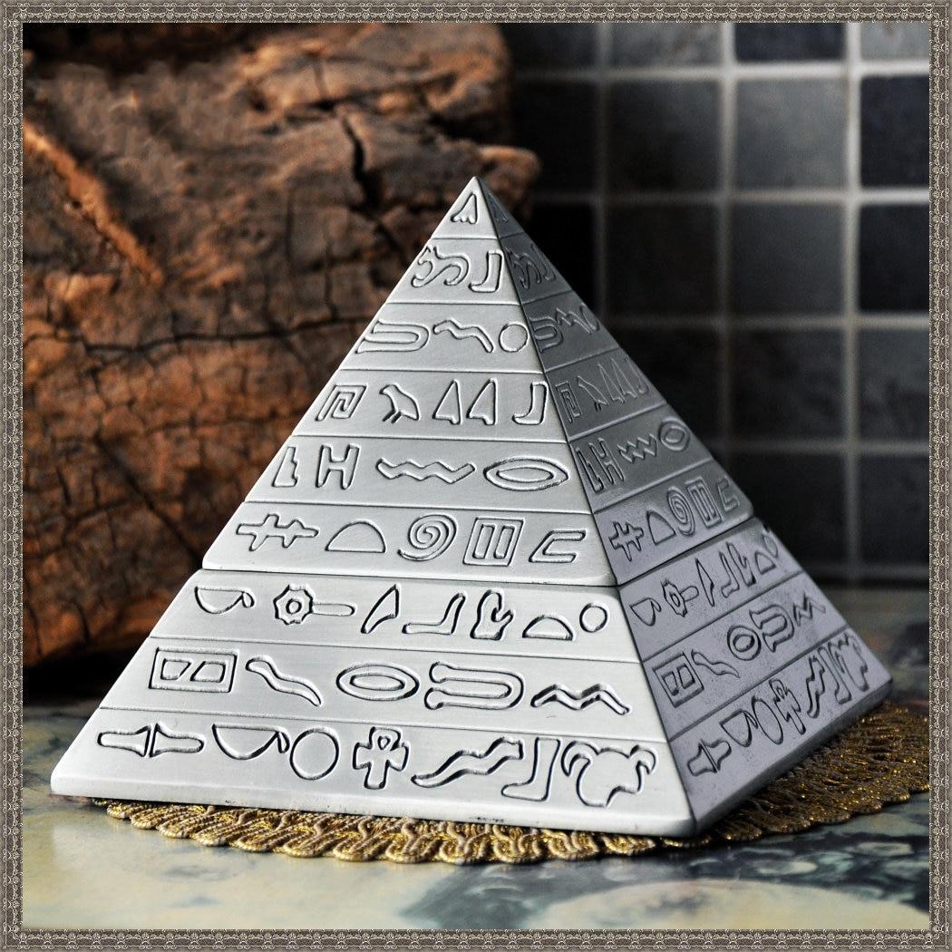 Пирамида Bejeweled Box декоративный Коллекционная металлическая шкатулка кольца, серьги, кулон Дисплей безопасной упаковки подарочной коробке - Цвет: Серебристый