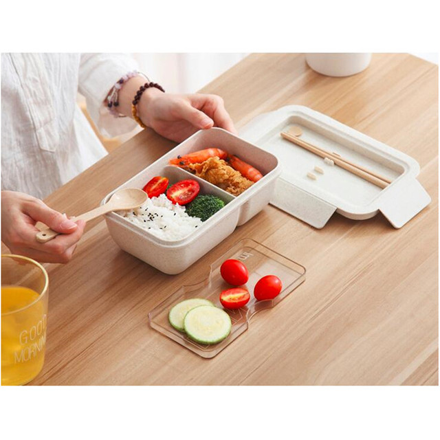 850ml Wheat Straw Lunch Box Healthy Material Bento Boxes Microwave Dinnerware Food Storage Container Lunchbox 2