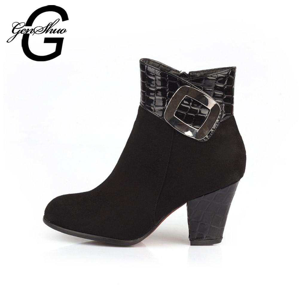 GENSHUO Women's Shoes Ankle Boots Chunky Block Heel 7cm Metal Buckle Round Toe Short Plush Winter Women's Boots Black Big Size women ankle boots pu leather short plush 7cm high thick block heel square toe white zipper winter black casual office lady boots