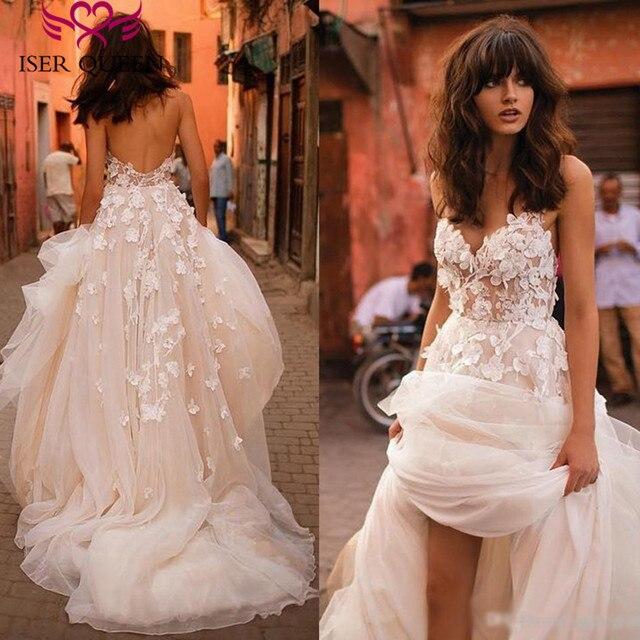 רומנטי 3D פרחוני אפליקציות קו חתונת שמלת 2019 ארוך רכבת בתוספת גודל אירופה אופנה חוף חתונת שמלות W0236