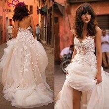 Romantic 3D Floral Appliques A line Wedding Dress Long train Plus Size Europe Fashion Beach Wedding Dresses W0236