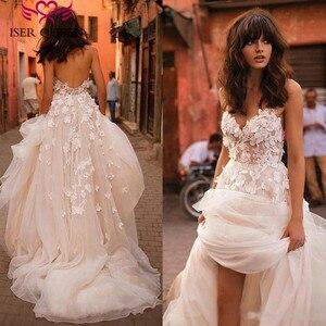 Image 1 - Romantyczny 3D kwiatowe aplikacje linia suknia ślubna 2019 długi pociąg Plus rozmiar europa moda suknie ślubne na plaży W0236