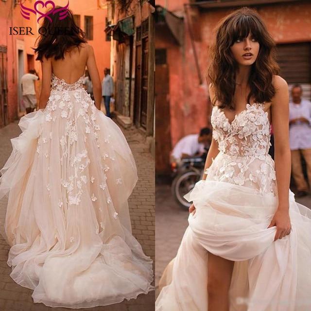 Romantyczny 3D kwiatowe aplikacje linia suknia ślubna 2019 długi pociąg Plus rozmiar europa moda suknie ślubne na plaży W0236