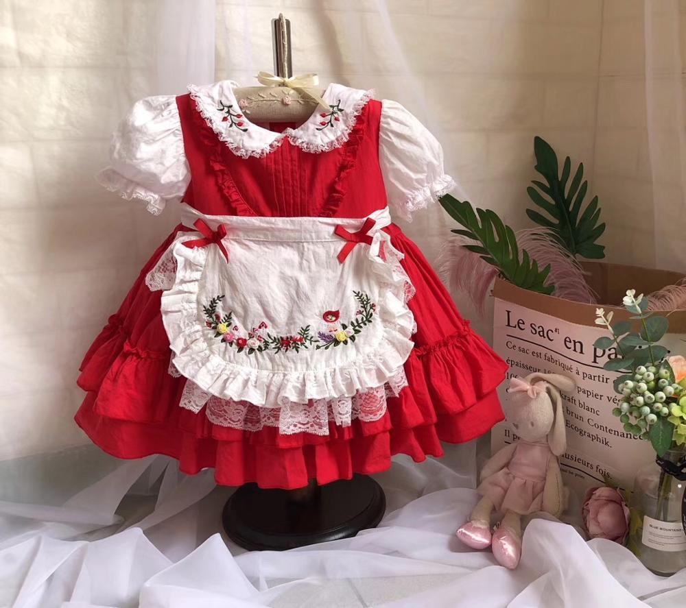 Baby meisjes jurken geborduurde bloemen turn down kleur zomer prinses feestjurken baby kids kleding
