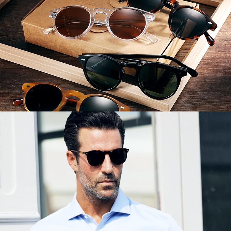 Vintage Polarized  sunglasses  OV5186 Clear Frame Gregory Peck Brand Designer men women circle glasses Women