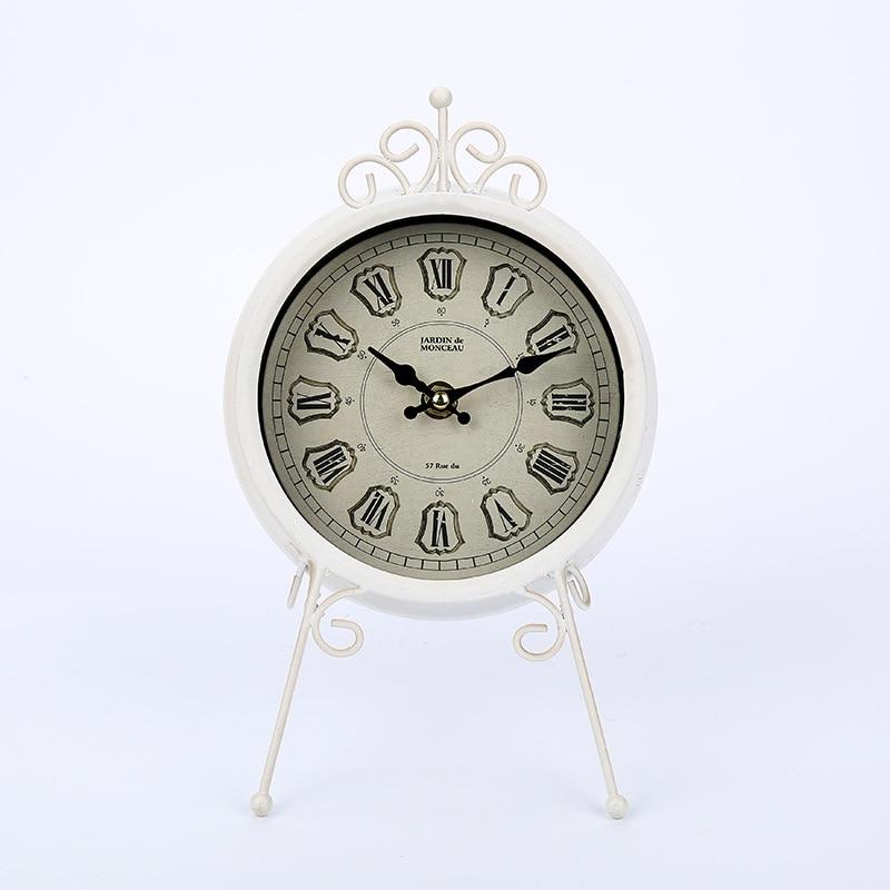 Vintage horloges décoratives européennes électroniques en métal bureau horloge maison salon fer silencieux horloge ornements maison artisanat cadeaux