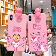 Cute 3D Pink Cartoon Stand Holder Phone Case For iPhone X 6 S Plus 7 8 Plus Case Soft Silicone Back Cover For iPhone XS MAX Case hat prince protective silicone soft back case for 4 7 iphone 6 pink black