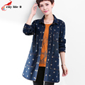 Plus-Size 3XL Polka Dot Single-Breasted Loose Denim Jacket 2016 All-match Winter Parkas High-Quality Women Jeans Chaquetas
