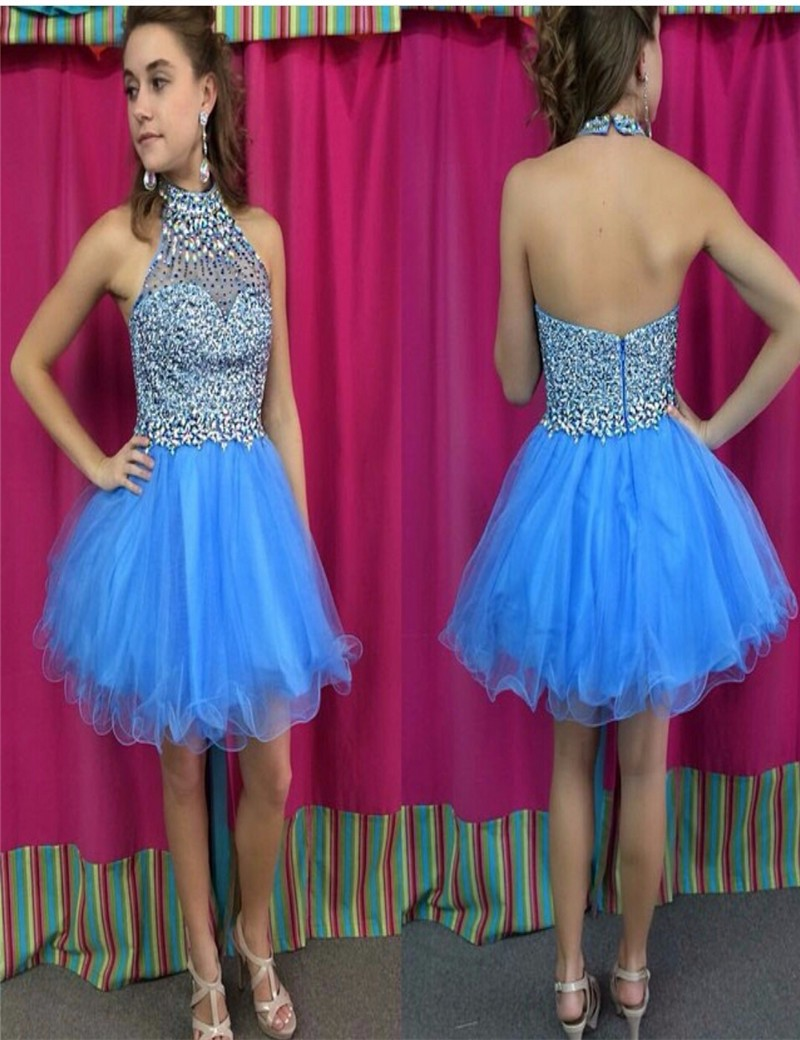 Sparkly Light Blue Short Formal Dresses