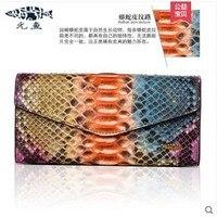 Yuanyu Новый бумажник из кожи питона из натуральной импортной кошелек из кожи змеи длинная Сумочка Змеиный узор женский кошелек женская сумка