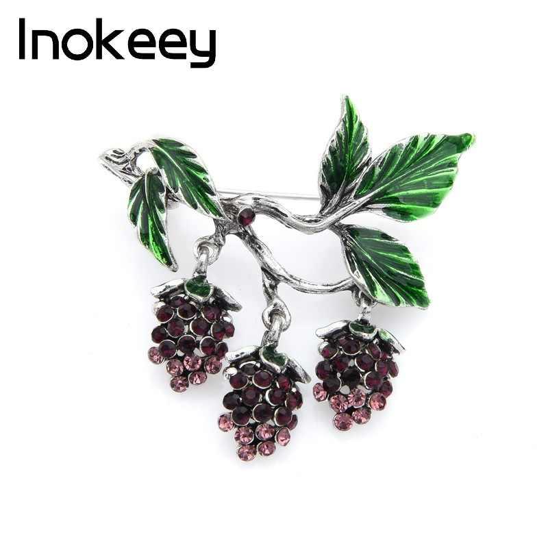 Inokeey Kristal Anggur Ungu Bros Pin Hijau Email Daun Bros untuk Wanita Kualitas Hadiah Perhiasan Desainer Buket