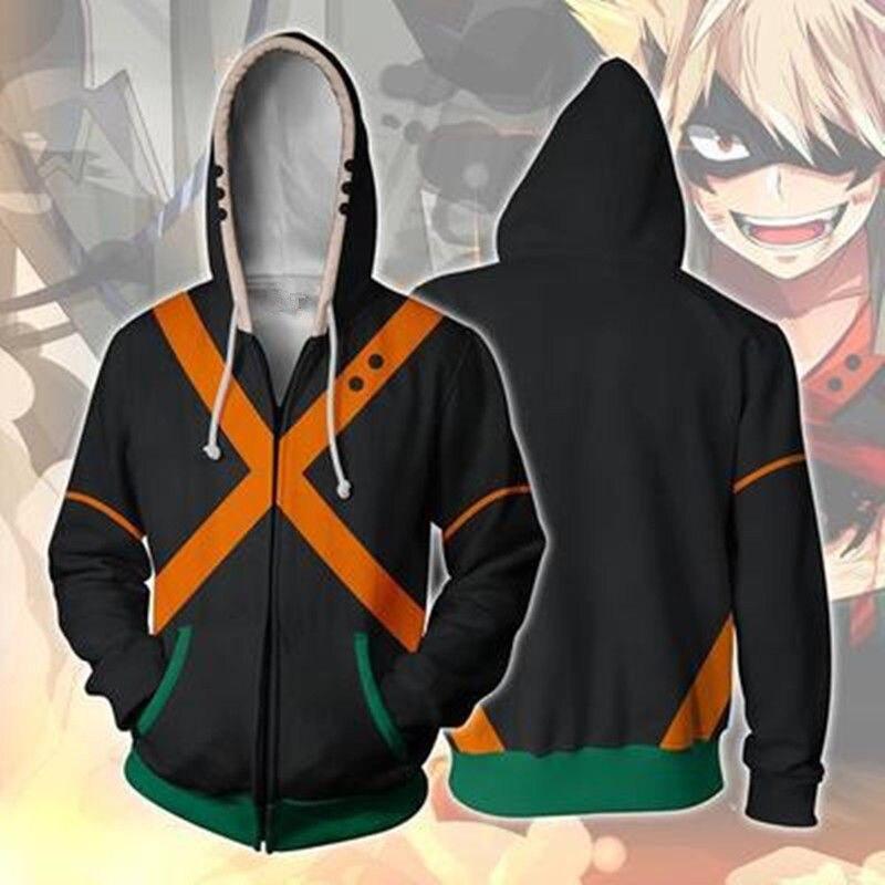 My Boku No Hero Academia Costume Bakugou Katsuki Zipper Cosplay Jacket Hoodie Gift Christmas