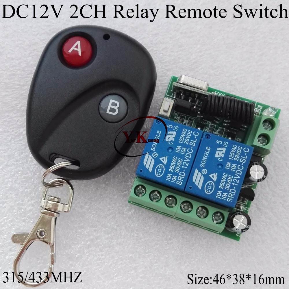 DC 12V 2CH Relay Remote Switch Button Contact Wireless Switch 10A ASK Smart Home 315 433 2CH 2 times learning Code superheterody smart home remote control switch 2 ch relay contact wireless switch ask 2ch learning independently rf receiver no com nc 315 433