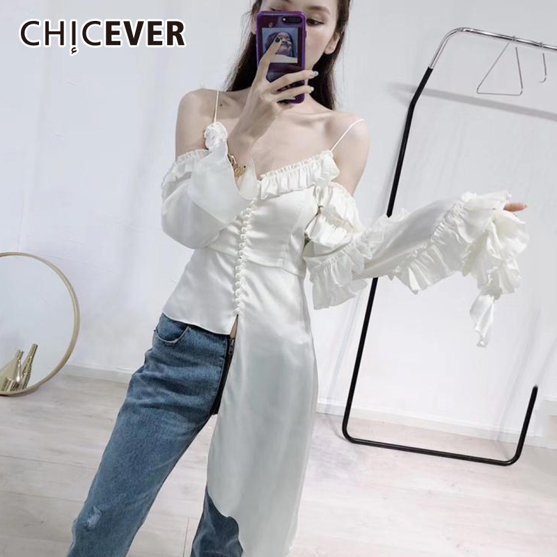 CHICEVER Sexy Off Shoulder Woman Shirts Blouses V neck Hem Asymmetry Rutterfly Sleeve Pearl Summer Womens Shirt Top Clothes New
